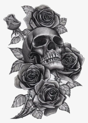 8b6e7a98e Neck Tattoo Png Clip Art Library Stock - Skull And Roses Tattoo Sleeve For  Girls