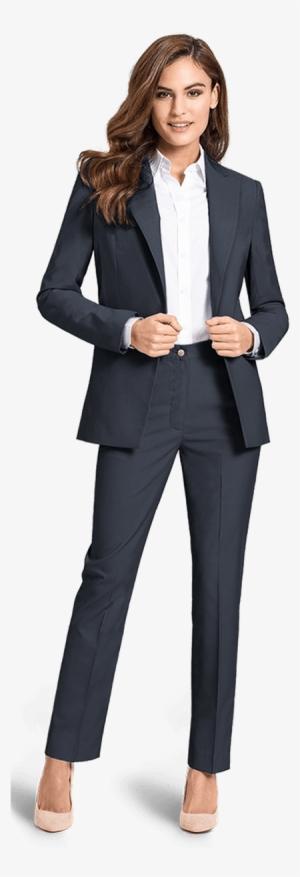 Blue Wool Blend Pant Suit - Woman Suit 474c91fd341f