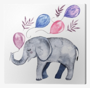 9e36d10bc36546 Cute Illustration With Baby Elephant And Balloons Canvas - Ilustracion  Animales Acuarela