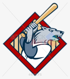 e07028da553 Stock Illustration Of Cartoon Rendition Of Wolf Holding - Baseball Bat