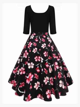 b46c8b0155 Retro Floral Print Half Sleeve Dress - Retro Vintage 1950s Dresses